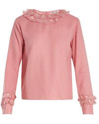 Jupe by Jackie - Buku Floral-embroidered Wool Shirt - Lyst