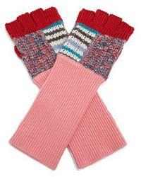 Burberry - Contrast-panel Wool-blend Fingerless Gloves - Lyst