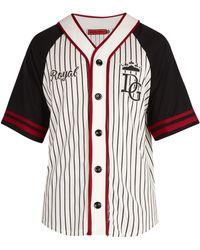 Dolce & Gabbana - Varsity Striped Cotton Blend Sweatshirt - Lyst