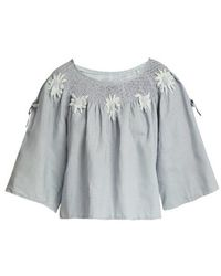 Innika Choo - Floral-embroidered Linen Top - Lyst