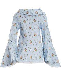 Teija - Flared-sleeve Floral-print Cotton Top - Lyst