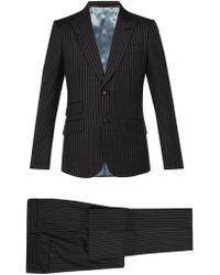 Gucci - Costume en laine à imprimé logo Heritage - Lyst