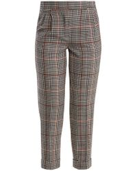 Amanda Wakeley - Prince Of Wales-checked Stretch-wool Trousers - Lyst