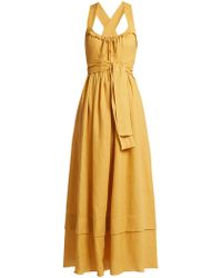 Three Graces London - Joan Tie-waist Linen Dress - Lyst