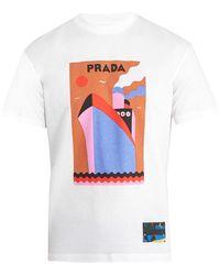 Prada | Boat-print Cotton T-shirt | Lyst