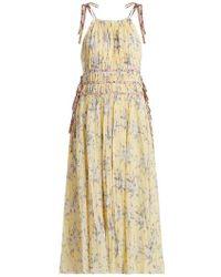 Rebecca Taylor - Halterneck Floral-print Cotton-blend Dress - Lyst