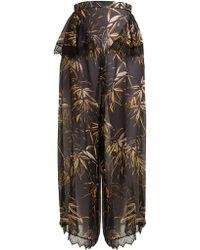 Rodarte - Palm-print Silk-blend Chiffon Trousers - Lyst