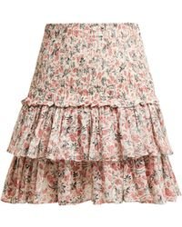 Étoile Isabel Marant - Naomi Floral Print Cotton Mini Skirt - Lyst