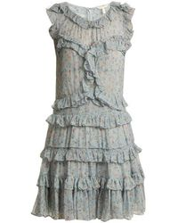 Rebecca Taylor - - Floral Print Ruffle Trimmed Silk Chiffon Dress - Womens - Green Print - Lyst