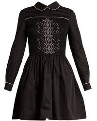 Miu Miu - Smocked-front Cotton Mini Dress - Lyst