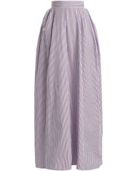 Rochas - Striped Cotton-poplin Maxi Skirt - Lyst