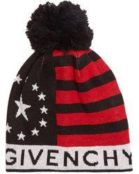Givenchy - Pompom Logo-print Wool-blend Beanie Hat - Lyst