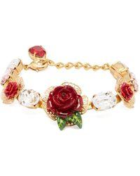 Dolce & Gabbana - Rose And Crystal Bracelet - Lyst