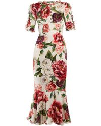 Dolce & Gabbana - Peony Print Silk Charmeuse Dress - Lyst