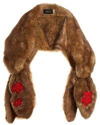 Simone Rocha - Bead-embellished Bow Faux-fur Scarf - Lyst