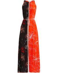 Diane von Furstenberg - Sleeveless Open Back Floral Print Silk Dress - Lyst