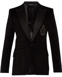 b9674ce79abd Dolce   Gabbana - Blazer en velours noir à monogramme - Lyst