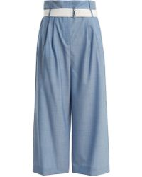 Tibi - Paperbag Wide-leg Pleat Trousers With Belt - Lyst