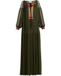 Amanda Wakeley - Gathered Silk Crepe De Chine Maxi Dress - Lyst