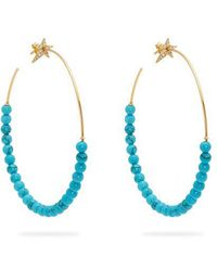 Diane Kordas - Diamond, Turquoise & Rose Gold Hoop Earrings - Lyst