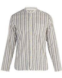 Oliver Spencer - Striped Grandad-collar Cotton-blend Shirt - Lyst