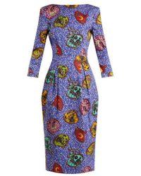 Stella Jean Woman Gathered Checked Cotton-twill Midi Dress Navy Size 42 Stella Jean EVn2tg