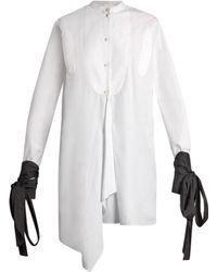 J.W. Anderson   Contrast-cuff Asymmetric-hem Shirt   Lyst