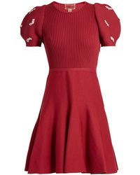 Giambattista Valli - Embellished Ribbed-knit Cotton Dress - Lyst