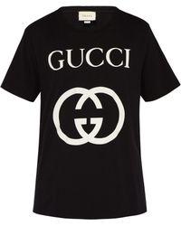 Gucci - T-shirt en coton à imprimé logo - Lyst