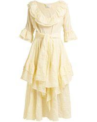 Lisa Marie Fernandez - Laura Striped Seersucker Cotton Midi Dress - Lyst