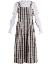 Shrimps - Enya Checked Wool Pinafore Dress - Lyst