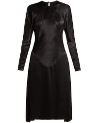 Vivienne Westwood Anglomania - Panelled Long-sleeved Satin Dress - Lyst