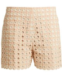 Chloé - Embroidered Eyelet Cotton Blend Shorts - Lyst