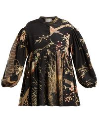 By Walid - Theresa Cherry Blossom-print Silk Top - Lyst