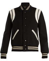 Saint Laurent   Leather-trimmed Wool-blend Bomber Jacket   Lyst