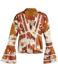 Dodo Bar Or - Enid V Neck Lace Insert Cotton Shirt - Lyst