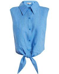 Diane von Furstenberg - Tie-front Sleeveless Striped Linen Shirt - Lyst