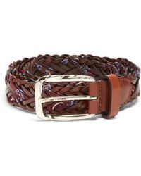 Etro - Woven Embroidered-twill And Leather Belt - Lyst