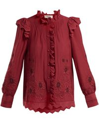 Sea - Greta Floral Embroidered Cotton Blend Blouse - Lyst