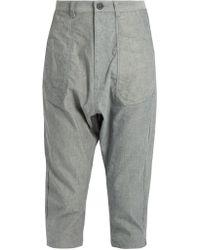 Yohji Yamamoto Regulation | Dropped-crotch Cropped Oxford-cotton Trousers | Lyst