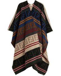 Fendi - Ff Intarsia-knit Wool-blend Poncho - Lyst