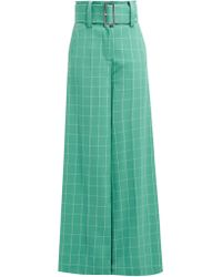 Sara Battaglia - High Rise Checked Crepe Trousers - Lyst