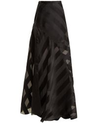 Lanvin - High Rise Chevron Striped Silk Blend Skirt - Lyst
