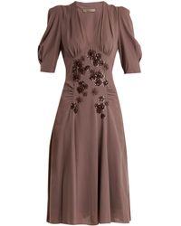 Bottega Veneta   Embellished V-neck Silk-georgette Dress   Lyst