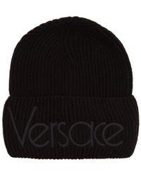 Versace - Logo-embroidered Wool Beanie Hat - Lyst