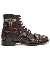 Gucci - Embroidered Lace-up Leather Brogue Boots - Lyst