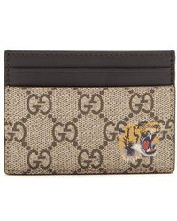 Gucci - Tiger-print Leather Cardholder - Lyst