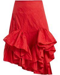 Marques'Almeida - Asymmetric Ruffled Crinkled-taffeta Skirt - Lyst