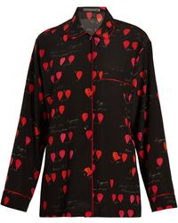 Alexander McQueen - Heart-print Piped-edge Crepe Shirt - Lyst