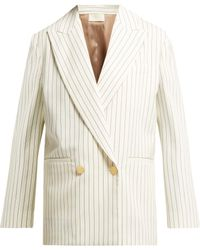 Sara Battaglia - Double Breasted Pinstripe Wool Blazer - Lyst
